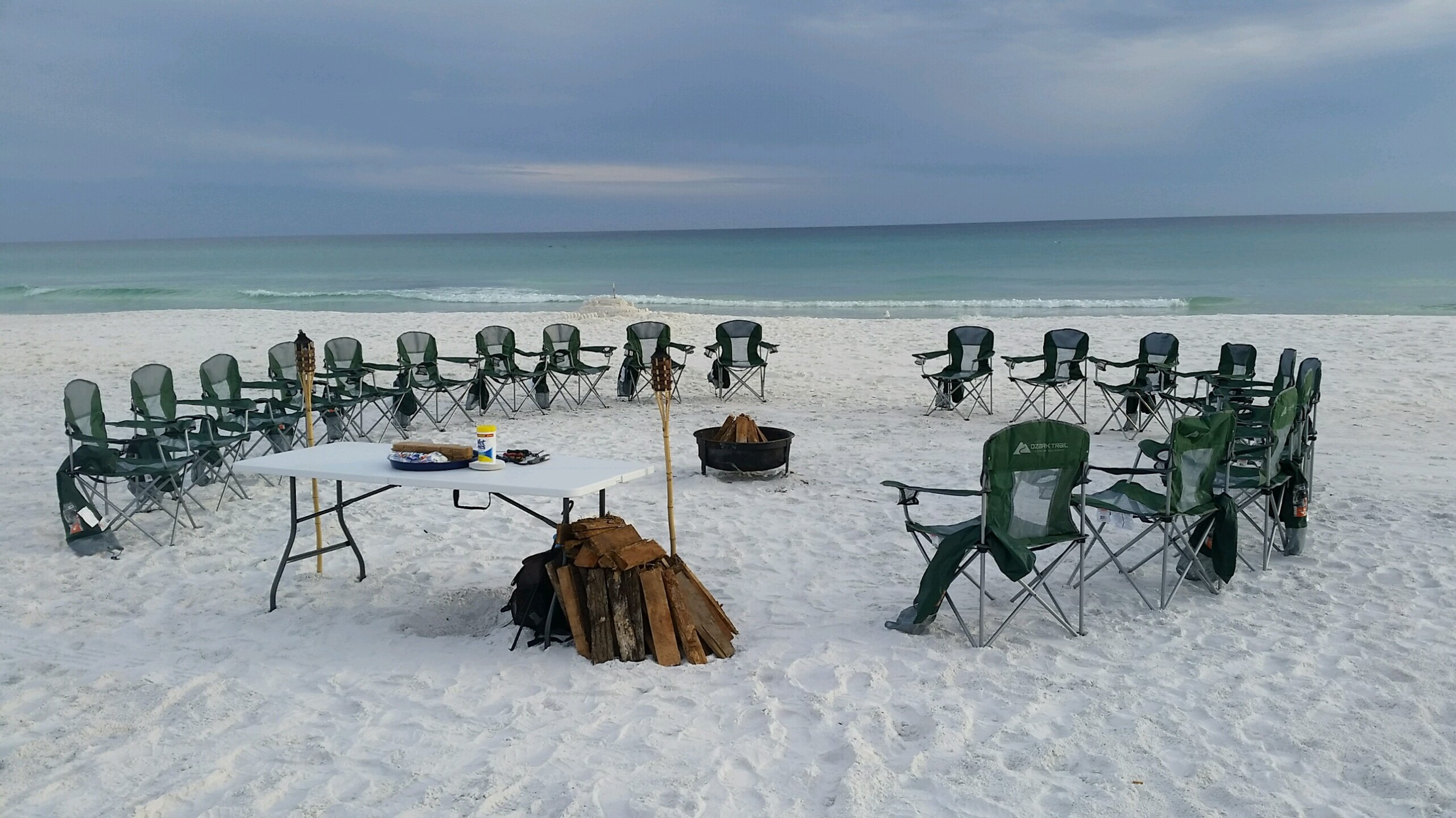 Bonfire on the beach in Destin