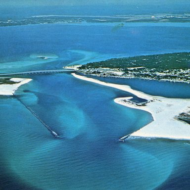 Aerial view of East Pass at Destin.