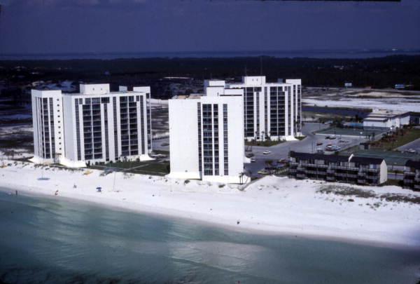 Aerial view of the Shoreline Towers Condominiums in Destin, Florida. 1977