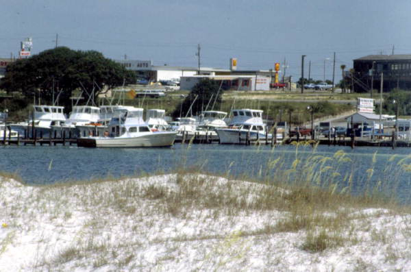Boats docked in the marina - Destin, Florida 1981