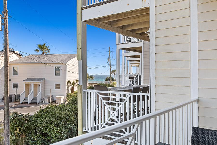 A balcony at Beach House condominiums