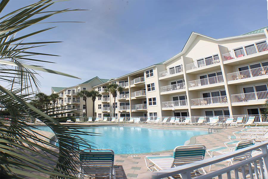 Pool deck at Maravilla Beach Resort in PCB