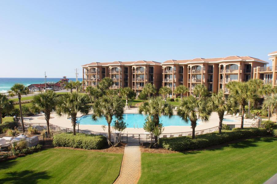Lush landscaping and pool at Mediterranea